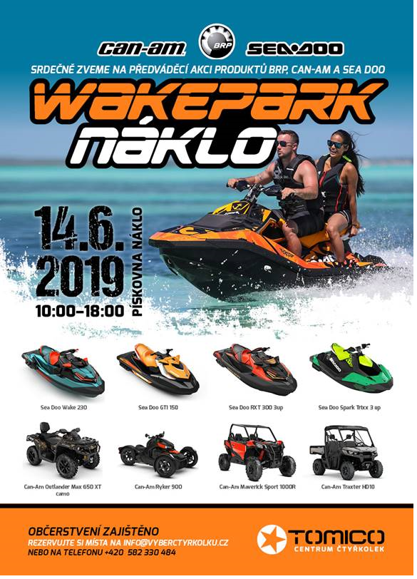 Sea-Doo 2019 Wakepark Náklo - pátek 14. června od 10:00 do 18:00 hod.